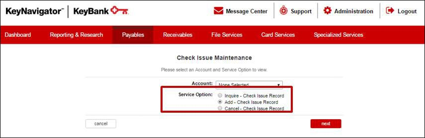 Check Issue Maintenance Add
