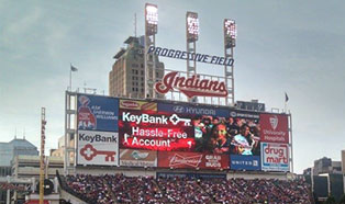 Progressive Field, home to the Cleveland Indians baseball team
