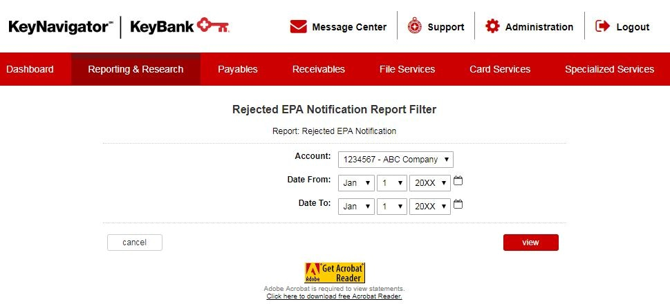 Rejected EPA Notification Report