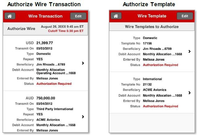 Authorize Wire Transaction