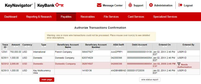 Authorize Transactions Confirmation