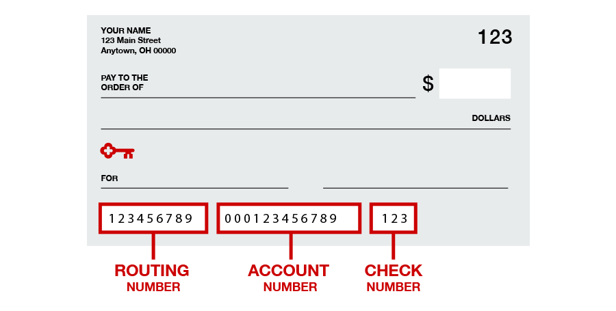 checking account and routing number on check keybank